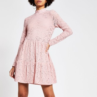 River Island Pink lace high neck mini smock dress