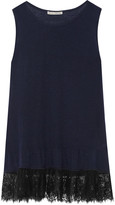 Autumn Cashmere Ruffled lace-trimmed cashmere tank