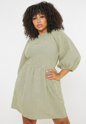 Missguided Plus Size Green Plaid Puff Sleeve Smock Dress