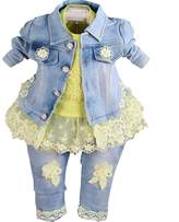 YOA Baby Girls Clothing Set 3 Pieces Sets T Shirt Denim Jacket and Jeans