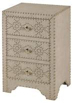 Stylecraft Wood 3 Drawer Night Stand with Linen and Silver Nailhead Accents - Medium Wood