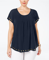 NY Collection Plus Size Grommet-Trim Swing Top