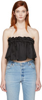 Edit Black Ruffled Crop Top