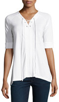Neiman Marcus Lace-Up Tie Top, White