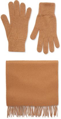 Johnstons of Elgin Cashmere Scarf And Gloves Set - Brown