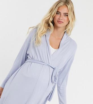 ASOS DESIGN Maternity mix & match soft rib midi robe in blue