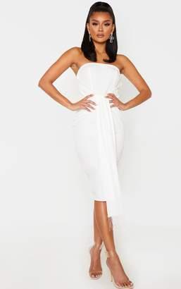PrettyLittleThing White Jewelled Tassel Bandeau Drape Midi Dress