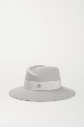 Maison Michel Virginie Grosgrain-trimmed Wool-felt Fedora - Gray
