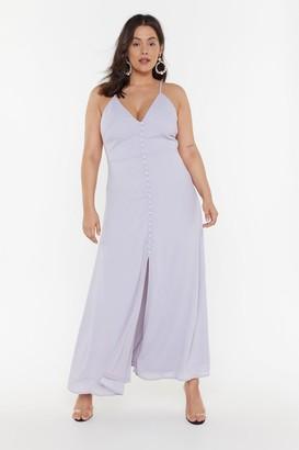 Nasty Gal Womens Don't Take Any Slit Button-Down Maxi Dress - blue - 16