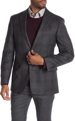 Tommy Hilfiger Tan Black Plaid Two Button Notch Lapel Wool Classic Fit Suit Separates Jacket