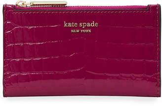 Kate Spade Sylvia Small Croc-Embossed Slim Bifold Wallet