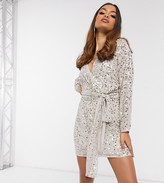 Asos DESIGN Petite mini dress with batwing sleeve and wrap waist in scatter sequin