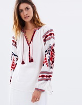 Maison Scotch Embroidered Boho Peasant Top
