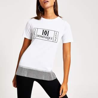 River Island Womens White printed diamante chain hem T-shirt