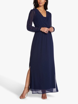 Adrianna Papell Chiffon Pleated Maxi Dress, Navy