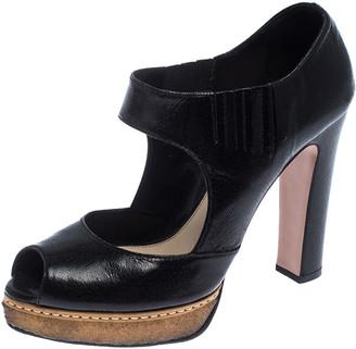 Prada Black Cut Out Leather Elastic Platform Sandals Size 38