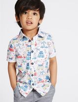 Marks and Spencer Pure Cotton All Over Print Shirt (3 Months - 5 Years)