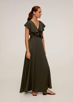 MANGO Ruffle wrap dress khaki - 2 - Women