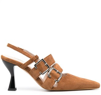 Kalda Side-Buckle Suede Pumps
