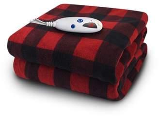"Buffalo David Bitton Biddeford Blankets Micro Plush Electric Heated Throw with Digital Controller, 60"" x 50"", Red Plaid"
