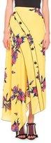 Proenza Schouler Lily-Print Asymmetric-Button Skirt