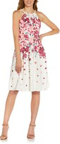 Thumbnail for your product : Adrianna Papell Floral Halter Neck Fit & Flare Crepe Dress