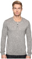 John Varvatos Long Sleeve Henley Sweater with Coverstitch Detail Y1443S4B