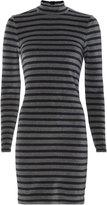 Alexander Wang Stripe Velour Turtleneck Dress