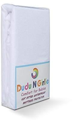 Dudu N Girlie Terry Cotton 100 Percent Waterproof Mini Cot Bedding Mattress Protector, 50 cm x 100 cm