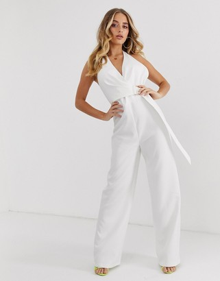 4th + Reckless halter neck d-ring jumpsuit in white