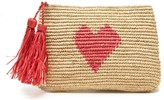 The Well Appointed House Crocheted Clutch with Coral Heart Design & Raffia Tassels - IN STOCK
