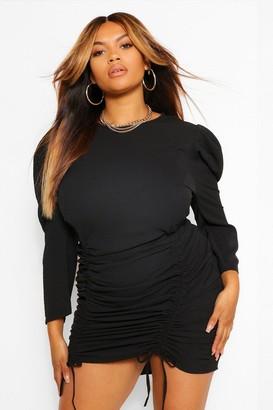 boohoo Plus Ruched Detail Crepe Shift Dress