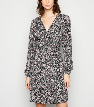 New Look Tall Floral Wrap Long Sleeve Dress