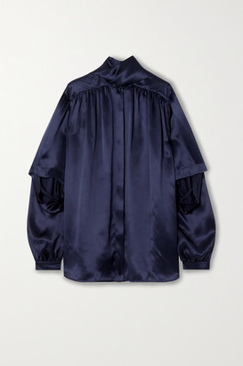 Balenciaga Tie-neck Layered Silk-satin Blouse - Navy