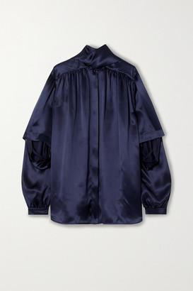 Balenciaga Tie-neck Layered Silk-satin Blouse - Navy