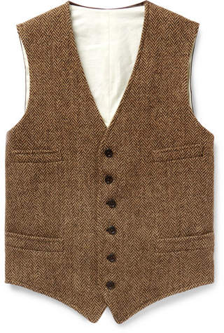 Polo Ralph Lauren Tan Herringbone Wool And Satin Waistcoat
