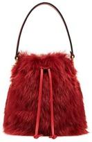 Fendi red fur mini mon tresor bucket bag