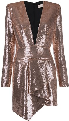 Alexandre Vauthier Asymmetric Sequin Midi Dress