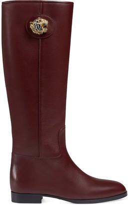 Gucci Mid-Calf Plaque Detail Boots