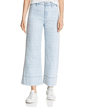 BILLY T Cropped Wide-Leg Plaid Pants