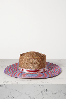 Missoni Grosgrain-trimmed Striped Straw Sunhat - Red