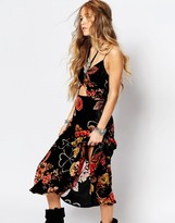 Honey Punch Cut Out Maxi Dress In Festival Floral