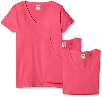 Fruit of the Loom Women's Valueweight V Neck Lady-fit 3 Pack T-Shirt