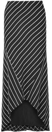 Asymmetric Striped Satin Skirt