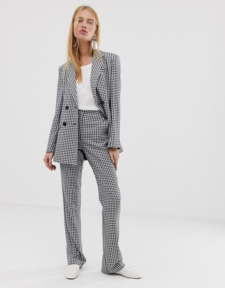 Asos Design DESIGN mini gingham slim kick flare suit trousers-Multi