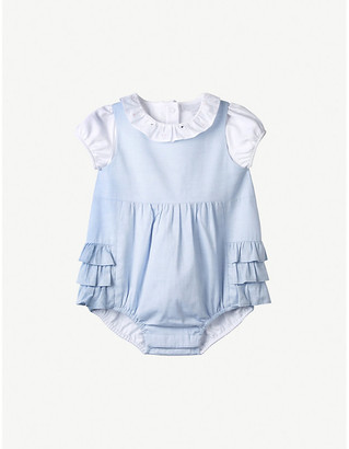 The Little White Company Frilled cotton romper and top set 0-24 months