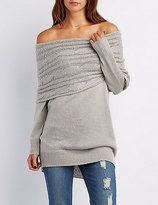 Charlotte Russe Cowl Neck Off-The-Shoulder Sweater