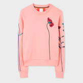 Paul Smith Women's Pink Cotton Sweatshirt With Floral Embroidery