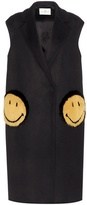 Anya Hindmarch Smiley Oversized Fur-trimmed Coat