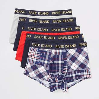 River Island Navy check RI waistband hipster 5 pack
